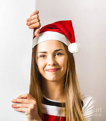 Santas Little Helper Showing Blank Christmas Sign Poster by Jorgo Photography - Wall Art Gallery