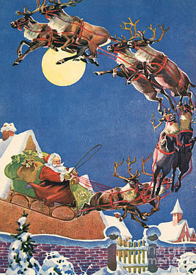 Santa's Sleigh And Reindeer Flying In The Night Sky On Christmas Eve Poster by American School