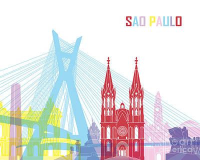 Sao Paulo Skyline Pop Poster by Pablo Romero