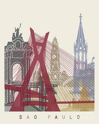 Sao Paulo Skyline Poster Poster by Pablo Romero