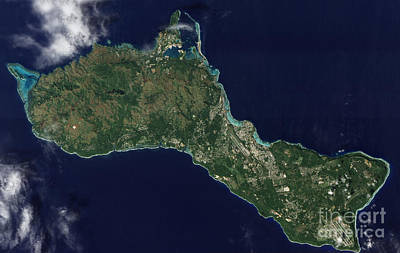 Satellite View Of The Island Of Guam Poster by Stocktrek Images