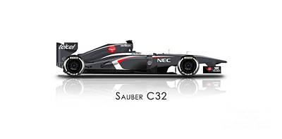 Sauber C32 - Formula 1 Car Poster by Jeremy Owen