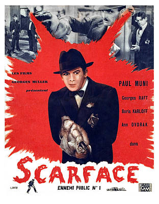 Scarface, Paul Muni, 1932 Poster by Everett