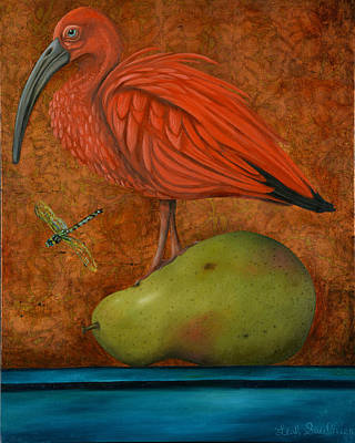 Scarlet Ibis On A Pear Poster by Leah Saulnier The Painting Maniac