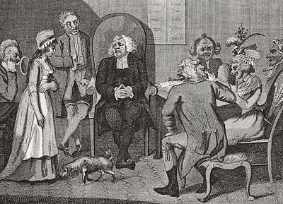 Scene In An English Divorce Court Poster by Vintage Design Pics
