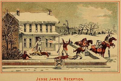 Scene Of Jesse James Shooting Six Men Poster by Everett