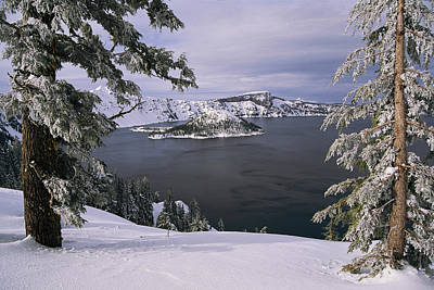 Scenic View At Crater Lake National Poster by Paul Nicklen