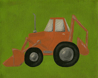 Scooper Tractor Nursery Art Poster by Katie Carlsruh