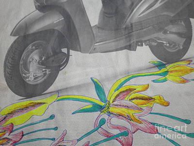 Scooter And Flower Design Poster by Artist Nandika  Dutt