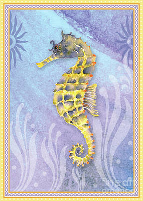 Seahorse Blue Poster by Amy Kirkpatrick