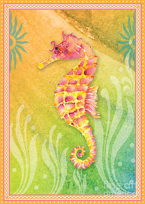 Seahorse Pink Poster by Amy Kirkpatrick