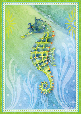 Seahorse Blue Green Poster by Amy Kirkpatrick
