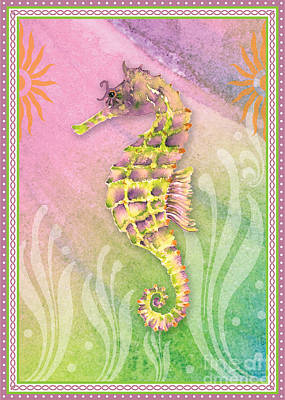 Seahorse Violet Poster by Amy Kirkpatrick