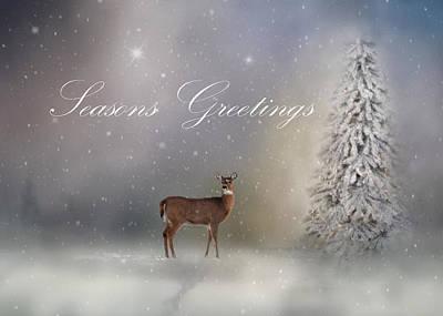 Seasons Greetings With Deer Poster by Ann Bridges