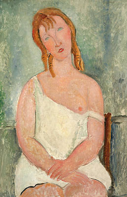 Seated Young Girl In A Shirt Poster by Amedeo Modigliani