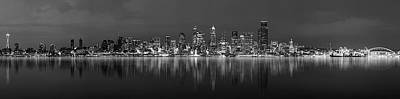 Seattle Skyline Panorama Poster by Wesley Allen Shaw
