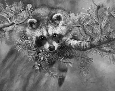 Seeking Mischief - Black And White Poster by Lucie Bilodeau
