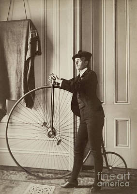 Self-portrait With False Moustache And Penny-farthing Poster by Celestial Images