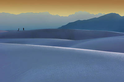 Sense Of Scale - 2 - White Sands - Sunset Poster by Nikolyn McDonald