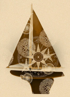 Sepia Boat Poster by Frank Tschakert