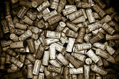 Sepia Wine Corks Poster by Frank Tschakert