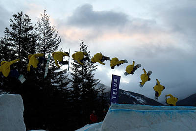 Sequence  Of A Snowboarder At The Telus Snowboard Festival Whistler 2010 Poster by Pierre Leclerc Photography
