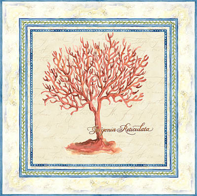 Serene Shores - Red Tree Coral Gorgonia Reticulata  Poster by Audrey Jeanne Roberts