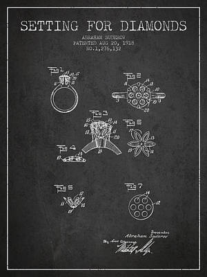 Setting For Diamonds Patent From 1918 - Charcoal Poster by Aged Pixel