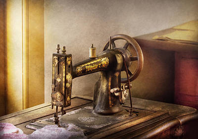 Sewing - A Black And White Sewing Machine  Poster by Mike Savad