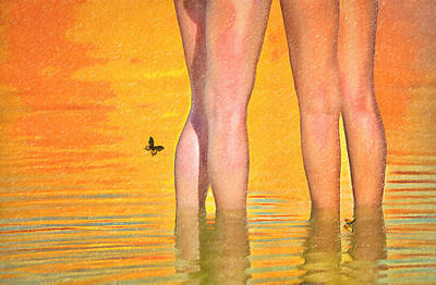 Sexy Legs Wading In The Water Poster by L Wright