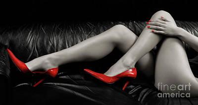 Sexy Woman Legs In Red High Heels Poster by Oleksiy Maksymenko