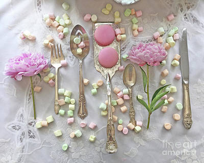 Shabby Chic Cottage Kitchen Art - Dreamy Peonies Macarons Silverplate Still Life Floral Flatware Poster by Kathy Fornal