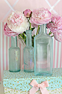 Shabby Chic Pink White Aqua Peonies With Vintage Aqua Bottles - Romantic Shabby Chic Peonies Poster by Kathy Fornal