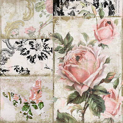 Shabby Pink Tea Roses Poster by Mindy Sommers