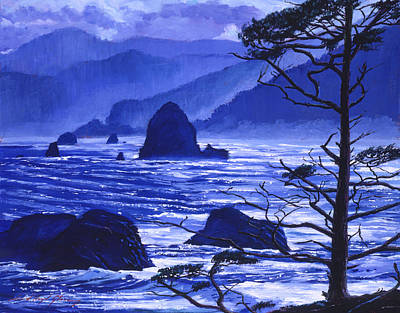 Shades Of Pacific Blue Poster by David Lloyd Glover