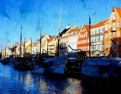 Shadows At Nyhavn Poster by Dorothy Berry-Lound