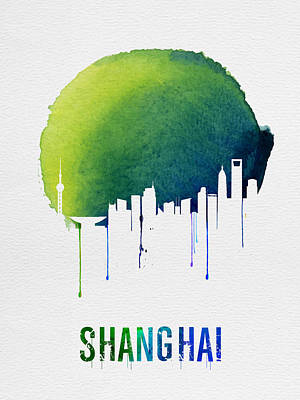 Shanghai Skyline Blue Poster by Naxart Studio