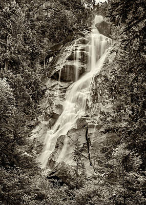 Shannon Falls - Bw Poster by Stephen Stookey