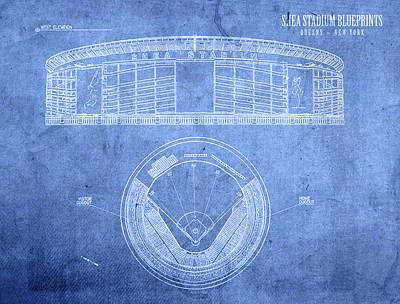 Shea Stadium New York Mets Baseball Field Blueprints Poster by Design Turnpike