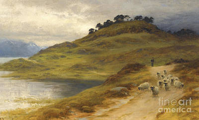 Sheep Droving In A Landscape Poster by Joseph Farquharson