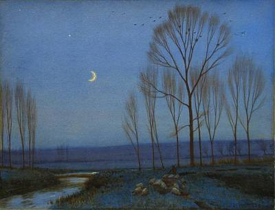 Shepherd And Sheep At Moonlight Poster by OB Morgan