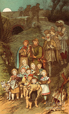 Shepherds On Their Way To Bethlehem Poster by Victor Paul Mohn
