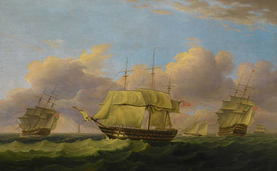 Shipping Off The Eddystone Poster by Thomas Luny