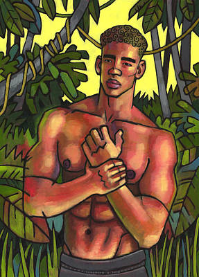 Shirtless In The Jungle Poster by Douglas Simonson