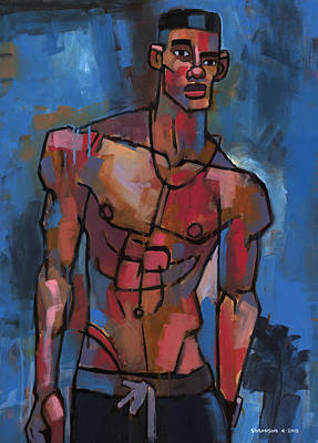 Shirtless With Blue Background Poster by Douglas Simonson