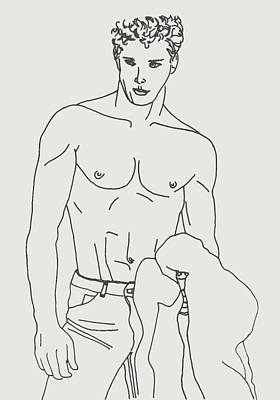 Shirtless Young Male Poster by Sheri Parris