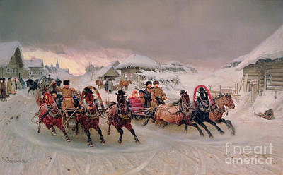 Sleigh Poster featuring the painting Shrovetide by Petr Nicolaevich Gruzinsky