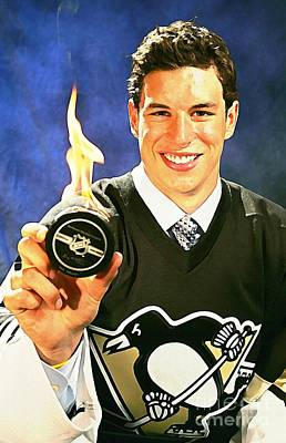 Sidney Crosby Watercolor Digital Painting Poster by John Malone