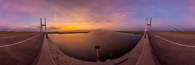 Sidney Lanier Bridge Twilight Panorama Poster by Chris Bordeleau