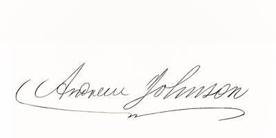Signature Of Andrew Johnson 1808 To Poster by Vintage Design Pics